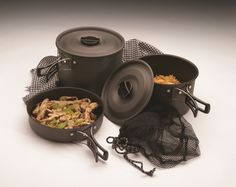 COOL CAMP GEAR | Texsport The Trailblazer Black Ice Hard Anodized Cook Set