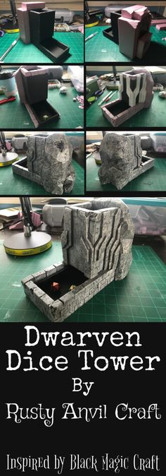 This was inspired by the dice tower charity project from Bla. This was inspired by the dice tower charity project from Black Magic Craft. Nerd Crafts, Fun Crafts, Diy And Crafts, Tabletop Rpg, Tabletop Games, Dnd Table, Board Game Table, Magic Crafts, Dice Tower