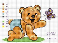 Karilla and Cross Point: Graphics Cross Stitch For Kids, Cute Cross Stitch, Cross Stitch Charts, Cross Stitch Patterns, Avengers Shield, Bear Design, Lilo And Stitch, Square Quilt, Cross Stitching