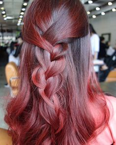 Cherry red ombre hair color styled with a loose brand to accentuate the rich, vibrant tones. Red Ombre Hair, Ombre Hair Color, Hair Colors, Red Hair Inspo, Hair Colour Design, Gorgeous Hair Color, Balayage Hair, Dyed Hair, Braided Hairstyles
