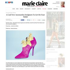 """Malone Souliers in Marie Claire  6 Cool New Accessories Designers To Get On Your Radar  """"Hot off the heels of a recent collaboration with David Koma during fashion week this February, London-based footwear brand Malone Souliers (designed by US-born Mary Alice Malone), has been creating some serious buzz in the industry. Malone's bold and luxurious designs are the ultimate payday treat - we dare you not to feel fabulous in a pair of these Fuchsia mules (chicks not included).""""  #MaloneSouliers"""