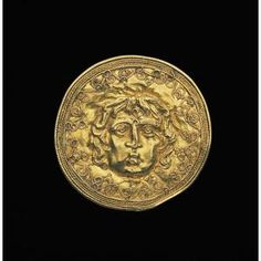 Gold disk with Medusa head  Date: 3rd-2nd century BC  Dimensions: Diameter: 1 9/16 in. (3.969 cm)  Medium: Gold, repousse  ,  Culture: Greek