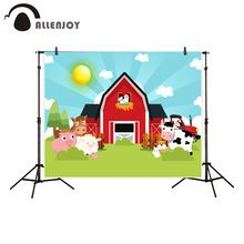 Custom Personalized red barn backgrounds for photo studio farm animals spring illustration backdrop decor new photobooth photographic Farm Yard Birthday Party, Farm Party, Barn Animals, Animal Birthday, Backdrops, Cow, Banner, Home And Garden, Cartoon