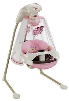 What comes to mind when you first look at this swing/jumper? How about comfortable and cozy? This Fischer-Price swing will swing from to back or side to side. Music and sounds to comfort the little one. Fisher-Price Papasan Cradle Swing, Mocha Butterfly |