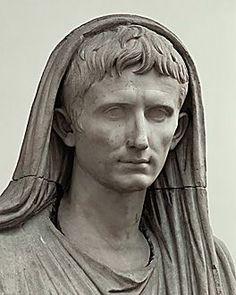 Roman Emperor Augustus, founder of the Roman Empire. The emperor Augustus as Pontifex Maximus, togatus, after 12 A.D. Museo Nazionale Romano, Rome