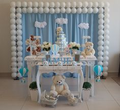 the little known secrets to baby shower ideas for girls themes 8 Boy Baby Shower Themes, Baby Shower Balloons, Baby Shower Fun, Birthday Balloons, Shower Party, Baby Shower Parties, Baby Birthday, Birthday Parties, Teddy Bear Baby Shower