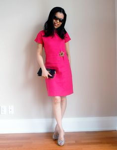 Based on a pin I saw right here on Pinterest!  Dress is an old one from Banana Republic; bag from 442McAdam; Shoes are Stuart Weitzman; Sunglasses from Fendi and the pin was purchased in HK back in December 2011. #pfc15