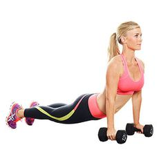 Burpees with dumbbells: forward bend, jump to plank, jump back to dumbbells feet to outside, stand up quickly and press dumbbells overhead. reps for 1 minute / 3 sets