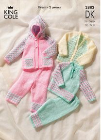Sweater, Cardigan, Hooded Jacket & Trousers in King Cole DK - 2882