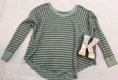 We The Free People Boho Waffle Oversized Striped Long Sleeve Shirt Womens Sz S* #WeTheFree #oversized