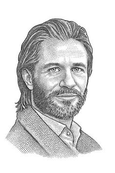 Hedcut portrait (stipple, dot portrait,  pointilism)