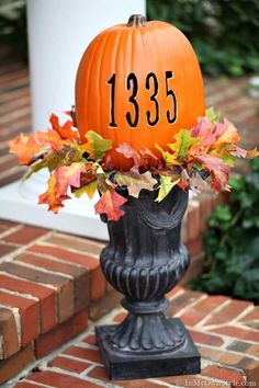 this pumpkin won't rot!  Carve a foam pumpkin with your address using a hot knife.