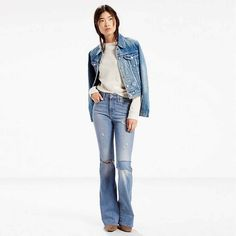 LEVI'S HIGH RISE FLARE JEANS, LIGHTHOUSE BLUES, PATCHED, DISTRESSED STRETCH,29/8 #Levis #HIGHWAISTEDFlare