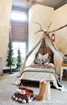 kid's camping bedroom | faux fireplace | designedthistlewood