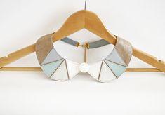 Collier en cuir collier menthe clair brun blanc métallisé argent Peter Pan détachable géométrique formes Europeanstreetteam Earth Tone