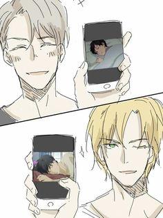 "My friend sent this to me and said ""I found us"". She loves Banana Fish and I love Yuri! On Ice Otaku Anime, Anime Manga, Anime Guys, Manhwa, Victor Yuri, Yuri On Ice Comic, Desenhos Love, Mini Comic, ユーリ!!! On Ice"