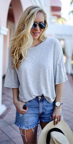 #spring #outfits  Grey Tee / Ripped Denim Short