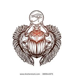 Isolated vector tattoo image black Scarab beetleon a white background. Carabaeus sacer. The ancient spiritual symbol of Egypt, God Khepri - stock vector