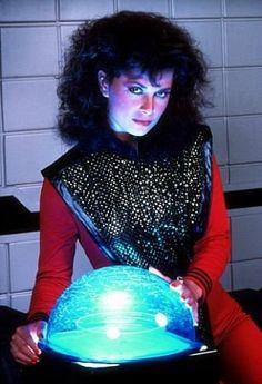 """<3 Jane Badler as Diana in """"V"""" aka """"Visitors"""" (1983 - 1985) -- Photo by Gene Trindl – © 1984 Gene Trindl – Image courtesy mptvimages.com -- """"V"""" Jane Badler 1984 NBC -- #blueandred"""