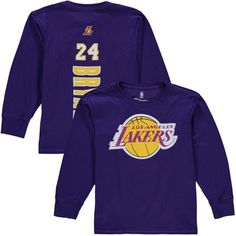b31d2df265e0 Kobe Bryant Los Angeles Lakers Youth Backer Long Sleeve T-Shirt - Purple