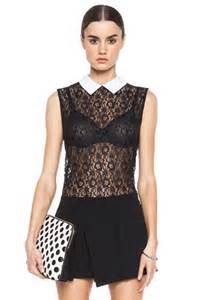 Equipment| Elliot Lace Knit Top with Contrast Collar in Black | Kevin From Work