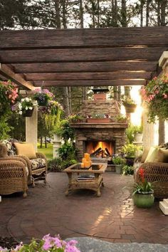 Beautiful patio and pergola with fireplace focal point.