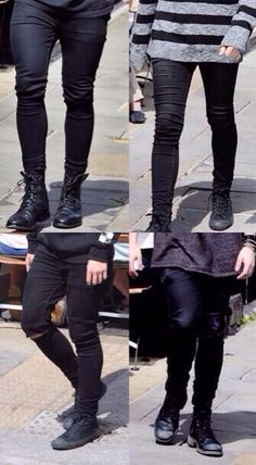 I can't find a picture if them all together on the street so let's have their black-skinny-jeans covered legs