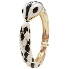 Enameled Snake Opening Bangle in Black and White with Gold finish