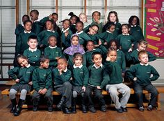 """The students at Nightingale Primary School. """"I told the children that this was going in The New York Times Magazine. I asked the boys to give me 'serious New York attitude' and the girls to give me 'Lady Gaga,' """" Neville said. """"This is what they came up with."""""""