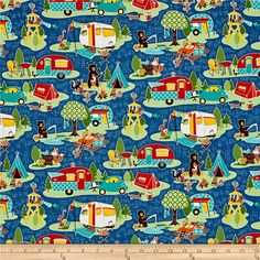 Designed by Kelly Panacci for Riley Blake Designs, this cotton print collection features lovely retro travel themed prints. Perfect for quilting, apparel, and home decor accents. Colors include blue, green, red, pink, yellow, orange, brown, teal, and cream.