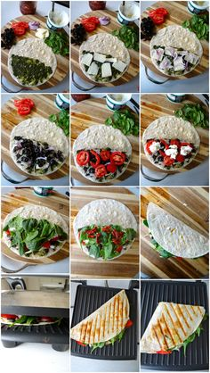Few Minute Wonders : Panini Pesto Tortilla Sandwich Healthy Meal Prep, Easy Healthy Dinners, Healthy Breakfast Recipes, Easy Healthy Recipes, Healthy Snacks, Healthy Eating, Vegetarian Recipes For Dinner, Healthy Cold Lunches, Healthy Lunch Wraps