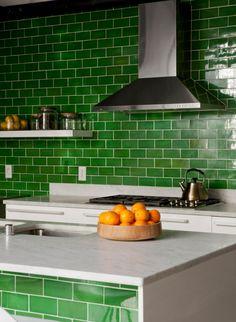 GREEN! subway tiles!