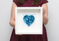Modern Quilling Wall Art Framed Blue Paper Heart Unusual Wall Decor Unique Home Decor Elegant Beautiful Bedroom Decoration Blue Nursery Art Etsy by PaperParadisePL