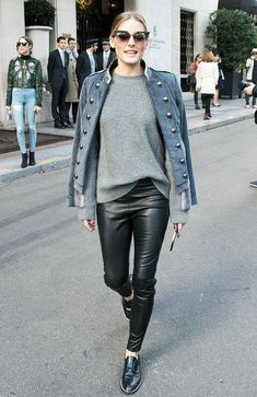 how to wear brogues: leather trousers + military jacket Black Brogues Outfit, Brogues Womens Outfit, Oxford Shoes Outfit, Suede Outfits, Black Flats, Casual Outfits, How To Wear Cardigan, Dress With Cardigan, How To Wear Scarves