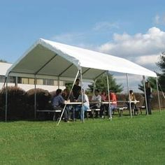 """Weathershield Commercial Canopy 18'W X 40'L Gray . $1918.00. WeatherShield Commercial Canopy 18'W x 40'L Grey Host outdoor events under a Heavy-Duty Weathershield Commercial Canopy.Quick and easy assembly on any surface. EZ-Lock slip fittings mean less building time, more event time.14 gauge, 1.66"""" OD Allied Gatorshield structural steel tubing.12.5 oz., 24 mil premium covers come with a 15 year warranty. Sidewall height: 6'6"""".To provide secure and stable holding power, Anchor Ac..."""