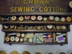 Sewing cotton box by the vintage cottage, via Flickr #vintagesewing.  Beautiful wooden box full of vintage cotton reels.