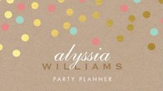 Cute and Colorful Confetti Spots Kraft Paper Style Party Planner Business Cards http://www.zazzle.com/cute_spot_confetti_trendy_gold_coral_mint_kraft_business_card-240689509463556982?rf=238835258815790439&tc=GBCEvents1Pin