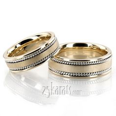 Bestseller Satin Hand Braided Wedding Ring Set; two tone w/braid; together = ~$1600