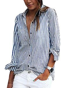 * Penny Deals * - WANSHIYISHE Women's Casual Slim Striped Print Long Sleeve Button-Down Sh blue US S * Click on the image for additional details.
