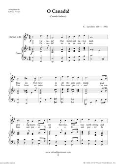 Lavallee - O Canada! sheet music for clarinet and piano - Free