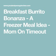 Breakfast Burrito Bonanza - A Freezer Meal Idea - Mom On Timeout