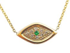 Gold Evil Eye Necklace Solid 14k Diamond by DragatakisJewellery
