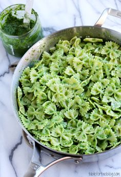 Arugula Pesto Bowtie Pasta with Goat Cheese