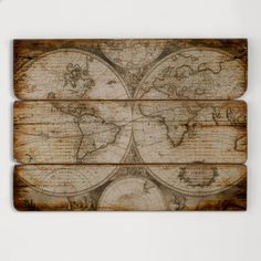 Wood Wall Map | World Market.  Either for the playroom or the boy's room