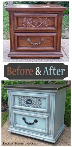 Ornate Nightstand in Black & Robin's Egg Blue ~ Before & After. Find more painted, glazed & distressed inspiration on our Pinterest boards, or on the Facelift Furniture DIY blog.