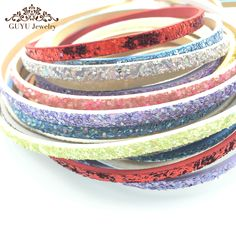 GUFEATHER 5mm Sequin leather cord/jewelry accessories/jewelry findings/hand made