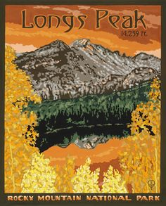 Longs Peak - Gouache on Pressed Board.  Original art and high quality goache prints by Julie Leidel.  See (and maybe even buy) her work at www.bungalowcraft.com.