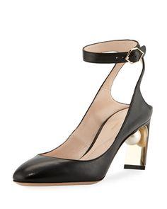 NICHOLAS KIRKWOOD Lola Pearly Ankle-Strap Pump, Black. #nicholaskirkwood #shoes #
