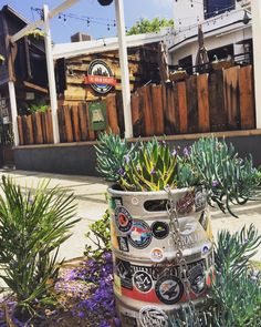 The Brew Project Keg Planters – Beer Art – Garden Ideas - Modern Succulent Planter Diy, Planters, Bohemian Beer Garden, Brew Garden, Hookah Lounge Decor, Craft Beer Shop, Pub Decor, Beer Keg, Restaurants