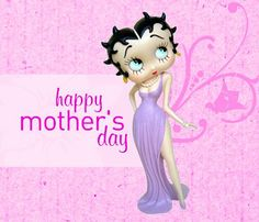 Happy Mother's Day Clip Art Free | Happy Mother's Day card with Betty Boop wearing a long, lavendar dress ...